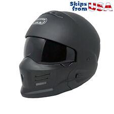 "MMG ""STEALTH"" Motorcycle Helmet Detachable Face Mask Open Face - Black L"