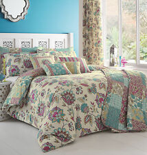Floral Patchwork Rich Colour Quilt Cover Bedding Set Cream Reversible Jacobean