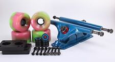 65mm 78a Green/ Pink Longboard Wheels and Blue Reverse Kingpin Truck Combo Set