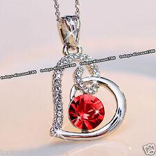 collier coeur cristal rouge amour cadeau de noël pour elle femme Couples maman