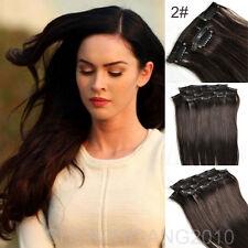 "Hair Extensions Full Head Clip in 100% Remy Human Hair 14""-30"" 7pcs"