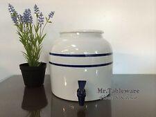 Water Crock Blue Stripe Porcelain Ceramic Water Dispenser with Tomlinson Faucet