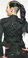 NEW Lip Service Black Institutionalized Stretch Twill O-Ring Jacket Gothic XS