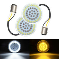 Pair Bullet Style 1157 Turn Signal White Amber LED Lights Inserts Fit for Harley