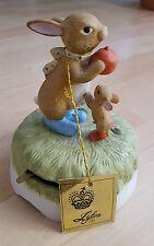 Vintage Lefton Easter Bunny Rabbit Music Box Porcelain Bisque Figurine w Tag