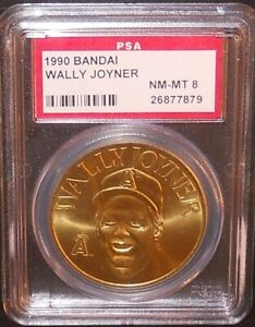 PSA 8 NM-MT 8 - Wally Joyner California Angels 1990 Bandai Brass Baseball Coin