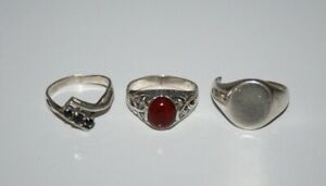 VINTAGE STERLING SILVER 925 - Lot of 3x Chunky Gemstone RINGS - Scrap/Repair