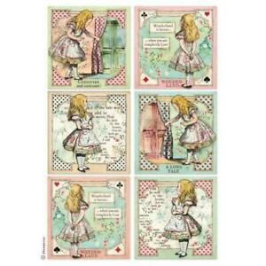 Stamperia Mixed Media Rice Paper A4 - Alice Cards  (DFSA4382) New