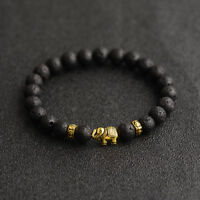 Charm 8mm Natural Stone Gold Plated Elephant Men Bracelets Fashion Lovely Gifts
