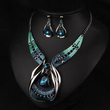 Damen Schmuckset Halskette Ohrringe Blau Kristall Strass Hochzeit Schmuckset Neu