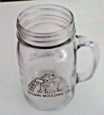 Mason Jar Drinking Mug Clear Glass Handle Brown Moulding Company