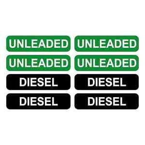 4 x UNLEADED & 4 x DIESEL FUEL VINYL PRINTED STICKERS LABELS FOR CAR VAN VEHICLE