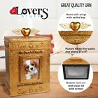 Pet Memorial Urn with Picture - Decorative Cremation Box for Dogs or Cats Ashes
