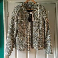 *UNWORN* Karl Lagerfeld tweed jacket 16 Glacier Blue & Cream Long tall sally