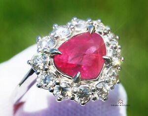 Ruby Ring Gold Diamond NO HEAT Natural 4.34 CTW GIA Certified RETAIL $14100