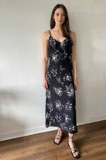 Wallis Womens Black Floral Print Frill Maxi V-Neck Dress Sleeveless