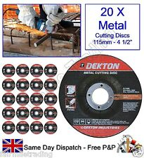 """20 X Angle Grinder Metal Cutting Discs 115mm 4½"""" Steel Depressed 3mm Thickness"""
