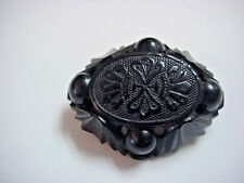 Jet Mourning Pin Victorian era Brooch hand carved Oval C Clasp
