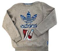Adidas Originals Sweatshirt Top Trefoil and Sneakers Trainers Logo Grey Medium