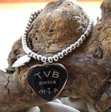"""Bracciale con doppio ciondolo cuore amiche """"TVB AMICA MIA"""" - Acciaio 316L"""