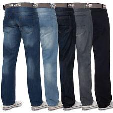 Hommes Jeans Jambe Droite Ceinture Coupe Standard Pantalon Grand Tout Tailles