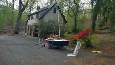 Fiberglass Blue Jay racing sailboat, trailer, winch, dolly, sails, motor tested
