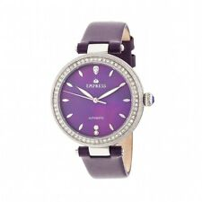 Empress Louise Women's Automatic MOP Crystal Purple Leather Silver Watch EM2302