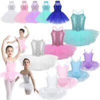 Girls Ballet Dress Sequins Dance Leotard Tutu Skirt Gymnastics Dancewear Costume