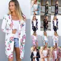 Womens Boho Floral Long Sleeve Cardigan Kimono Casual Tops Jacket Blouse Outwear