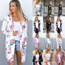 Women's Boho Floral Print Long Sleeve Cardigan Casual Jacket Coat Kimono Outwear