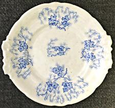 Antique Grainger Worcester Porcelain Handle Plate Blue MOSS FIBRE Pattern GW