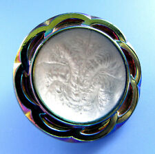 LARGE Vintage Glass Button Amethyst Green Depression Glass Silver Center