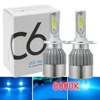 1pair COB H4 C6 Ice Blue LED Car Headlight Kit Hi/Lo Turbo Light Bulbs 8000K