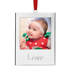 (2) Lenox Silver Love & Joy Picture Frame Christmas Ornaments