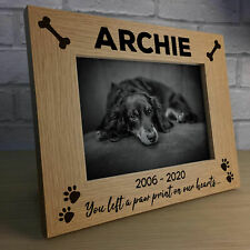Personalised Pet Photo Frame Wooden Gift Dog Puppy Handmade Keepsake Memorial