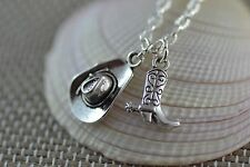 NC044 Cowboy Hat and Boot Necklace, Cowgirl, Country, Farm, Boot scooting