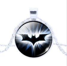 Vintage Superhero Batman Cabochon Silver Glass Chain Pendant Necklace W165
