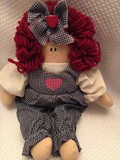 13 inch Collectors Happy Raggedy Ann Toy Plush Doll Country Blue Gingham Outfit