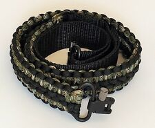 Extra Wide Black & Green Camo  Paracord Adjustable Gun Sling w Swivels Free Ship