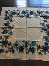 "Vintage Tablecloth 1940/50's Blue Floral Linen Textured 50"" x 54"""