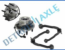 New 4pc Front Upper Control Arms & Ball Joint + Wheel Hubs & Bearings 6-Bolt 4x4