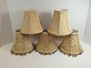 "Set of Five Vintage Gold Brocade w Bangles Mini Victorian Lamp Shades 5""x6"""