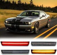 For 2015-2020 Dodger Challenger Front & Rear LED Side Bumper Marker Smoked Lens