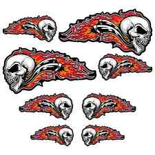 Skull Flames Sticker Set Motorcycle Car Bobber Chopper Biker Hot Rod Decals