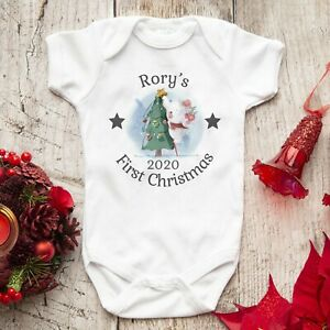 Personalised First Christmas Baby Vest Grow Outfit 2020
