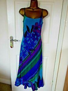 "Monsoon Size UK-10-12 Lined 100% Silk Long Dress  vibrant colours BUST36"""