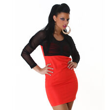 Sexy Langarm Kleid Minikleid halbtransparent gerafft Schwarz Apricot 34 36 38