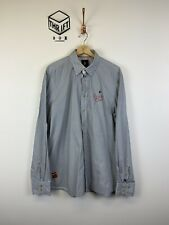 GAASTRA, Mens Size XL, White/Navy Spotted, LS Reg Fit Shirt,*EX COND*