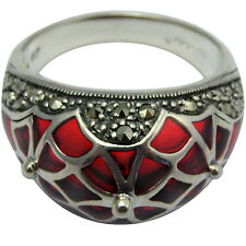 RING WITH RED ENAMEL & MARCASITE 925 SILVER HALLMARKED NEW FROM ARI D NORMAN