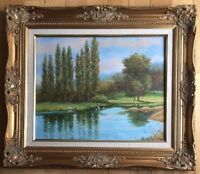 Antique Oil Painting by Sanches Ornate Wooden Gold Gilded Frame